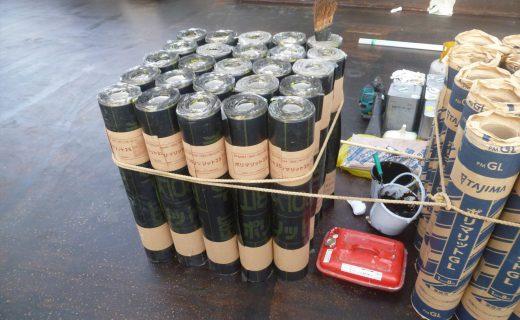 改質アスファルトシート防水 トーチ工法 ポリマリット防水でのポリマット25を確認