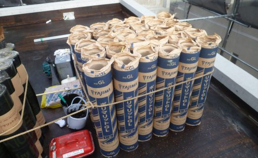 改質アスファルトシート防水 トーチ工法 ポリマリット防水でのポリマットGLを確認