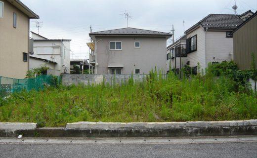 道路から30cmから50cmほど上がった土地は平坦地で約40坪ほどで周囲は住宅が整然と並ぶ街区です。ただ、付近には1級河川があってその影響は土中で観察することができました。
